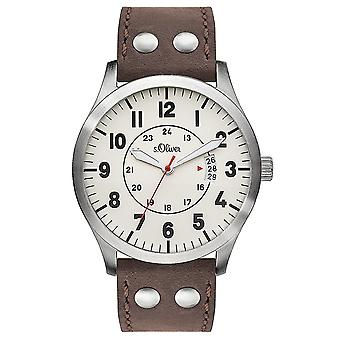 s.Oliver men's watch wristwatch leather SO-3265-LQ