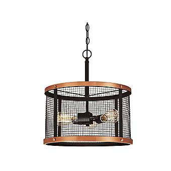 Pendant Emmet Bronze and Copper with Wire Mesh and 3 Lights