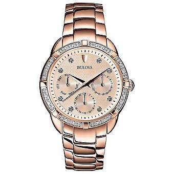 Bulova Diamond Womens Rose Gold Dial 98W178 Watch