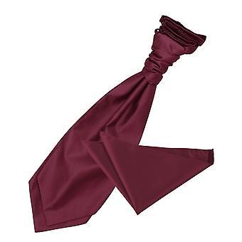 Burgunder solide Check Hochzeit Cravat & Einstecktuch Satz