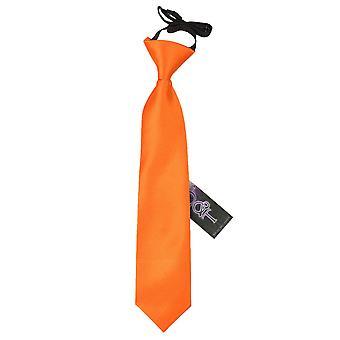 Plaine d'Orange brûlé Satin élastique cravate pour les garçons