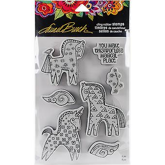 Stampendous Laurel Burch Cling Stamp W/Template -Magical Horses