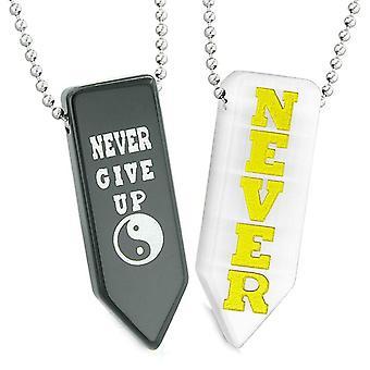 Aldrig par opgive amuletter Yin Yang kærlighed hvide simulerede Cats Eye agat pilespids halskæder
