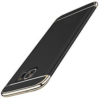 Handy Hülle Schutz Case für Samsung Galaxy A6 Plus 2018 Bumper 3 in 1 Cover Chrom Etui Schwarz