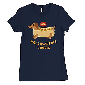 Halloweenie Doggie Womens Navy T-Shirt