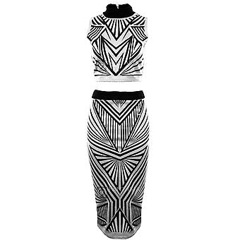 Ladies Ribbed Triangle Print Sleeveless Turtle Neck Top Midi Skirt Women's Set