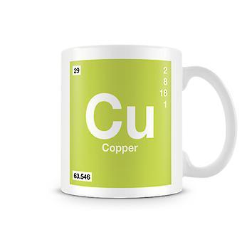 Mug imprimé scientifique, mettant en vedette élément symbole 029 Cu - cuivre