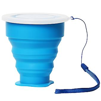 TRIXES Silicone Travel Folding Juice Cup Hot Blue with Lid for Festival s Outdoors Camping
