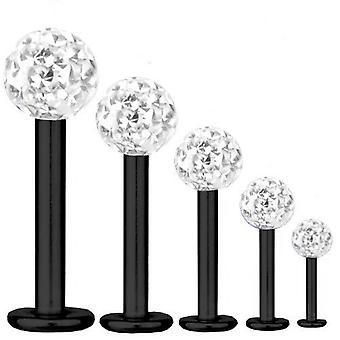 Labret Bar Tragus Piercing titanio negro 1, 6mm, múltiples bolas de cristal blanco | 5-16 mm
