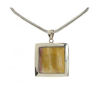 Cavendish Silver Français encadré carrés Mookaite pendentif sans chaîne
