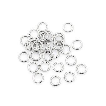 Pakke 110 + sølv 304 rustfritt stål rundt åpen hopp ringene 0,6 x 3mm Y01320