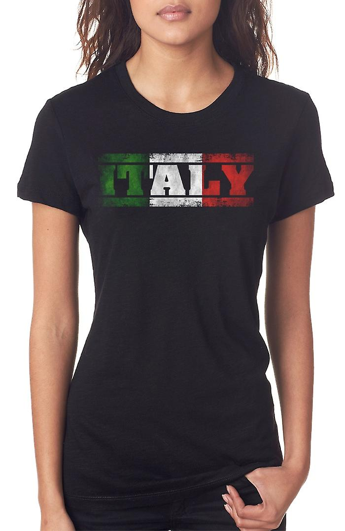 Italian Italy Flag - Words Ladies T Shirt