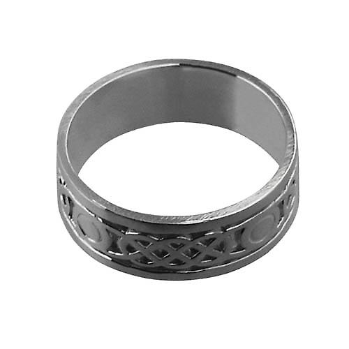 18ct White Gold 8mm Celtic Wedding Ring Size Z