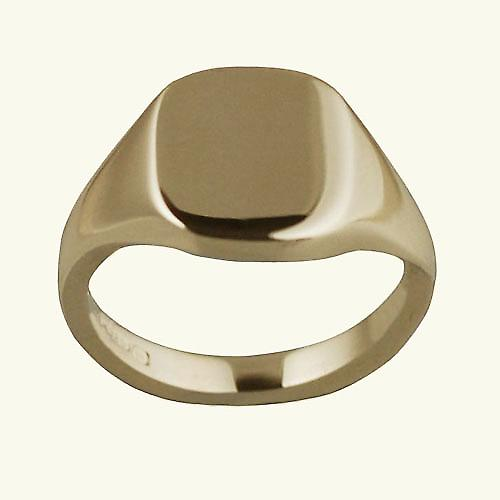 9ct yellow gold ladies and boys plain cushion signet ring 12x10mm