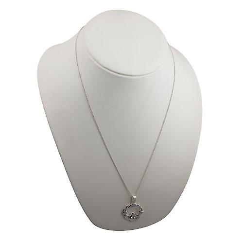 Silver 27x30mm twisted cord top Claddagh Pendant with a curb Chain 24 inches
