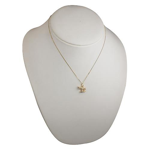 9ct Gold 14x17mm solid Donkey Pendant with a curb Chain 18 inches