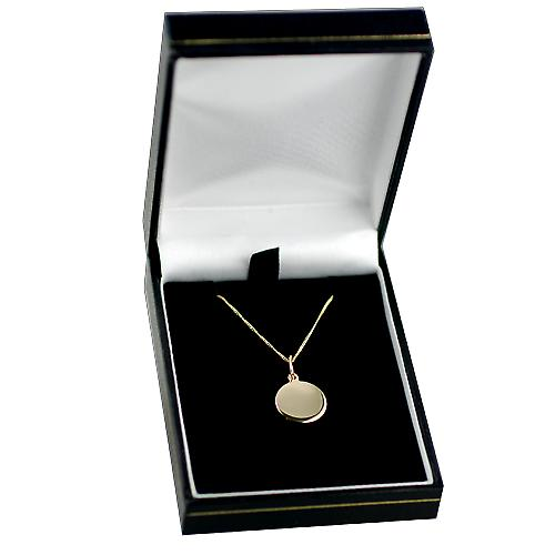 9ct Gold 13mm round St Christopher Pendant with a curb Chain 16 inches Only Suitable for Children