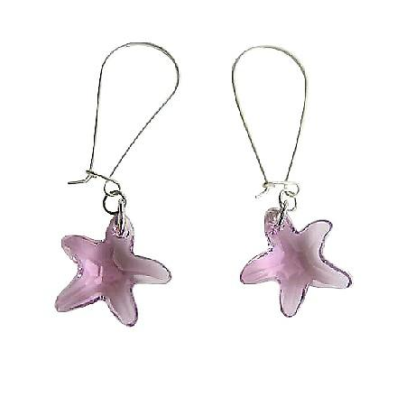 Swarovski Amethyst Star Fish 92.5 Sterling Silver Hoop Earring
