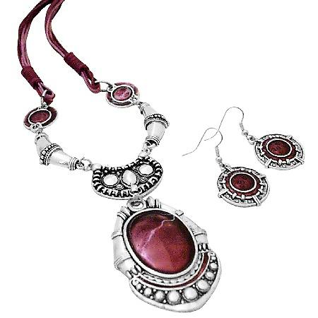 Enamel Ruby Painted Ethnic Artform Pendant & Earrings Set