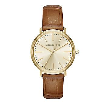 Michael Kors Womens Jaryn Rosegold Ton braunem Leder Wrist Watch MK2496