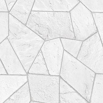 Concrete Angles White Brick Wallpaper Stone Slate Geometric Silver Metallic