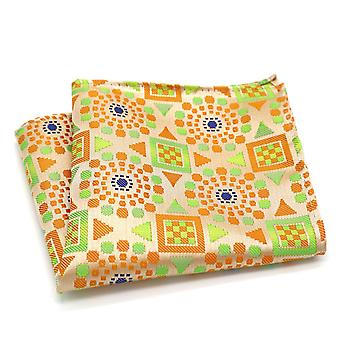 Bright orange blue yellow & green geo pocket square