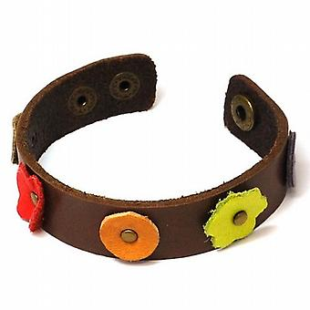 The Olivia Collection Brown Genuine Leather Multi Coloured Flowers Wristband