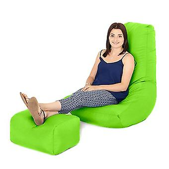 Lime Water Resistant Outdoor Gaming Bean Bag Highback Lounger Chair and Footstool