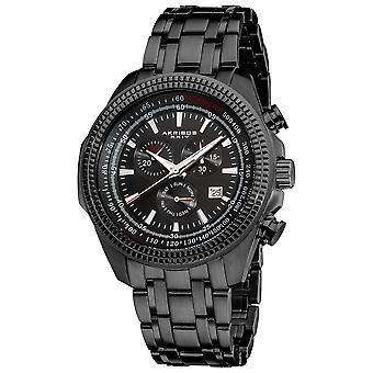 Akirbos XXIV AK617BK Men's Chronograph Tachymeter Black Stainless Steel Bracelet Watch