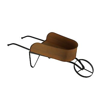 Rusty Finish Metal Decorative Farmhouse Wheelbarrow Planter
