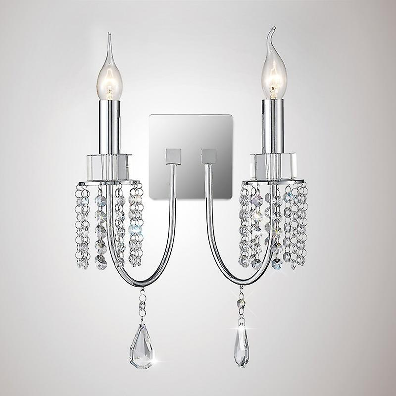 Emily Wall Lamp Switched 2 Light Polished Chrome crystal