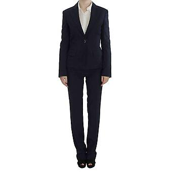 Exte Blue Stretch Cotton One Button Suit -- SIG3678384