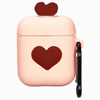 Cartoon Silicone Case for Apple Airpods-love heart-brown-with lobster clasp