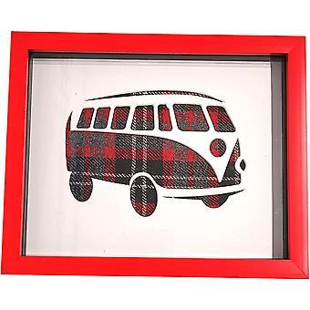 Laura Ann Cards Single Camper Van Box Frame Red Tweed