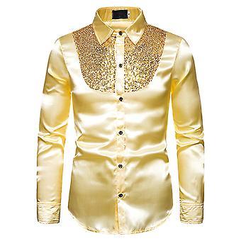 Allthemen Men's Camicia Quattro Stagioni Sequin spianato Camicia a maniche lunghe