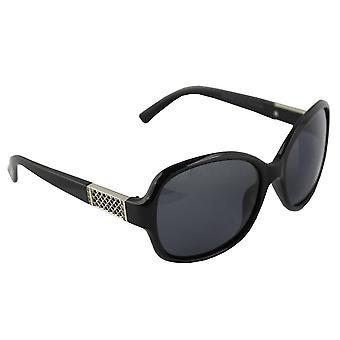 Sunglasses oval polarizing Glass silver black FREE BrillenkokerS324_1