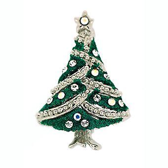 Broscher Store silverpläterad och Swarovski Crystal grön glittrig liten jul
