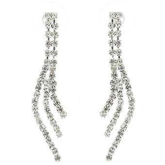 Stunning Three Strand Clear Diamante Crystal Drop Earrings