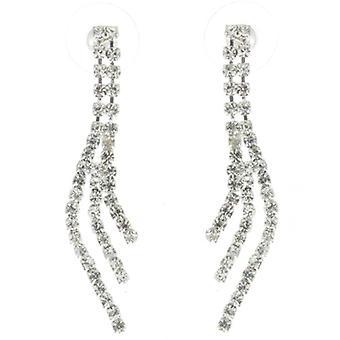 Prachtig drie Strand duidelijk Diamante Crystal Drop Oorbellen
