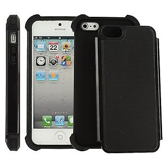 Tapa de dos piezas ultra durable plástico PC y iPhone Silicon 5/5S (negro)