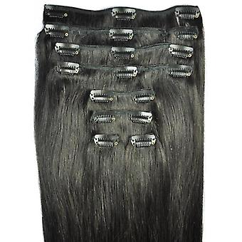 FULL HEAD of 100% Human Hair, Triple Weft, REMY Clip-in Hair Extensions #1b