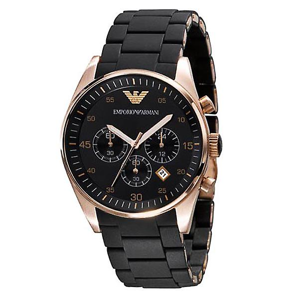 Emporio Armani AR5906 Black & Gold Sports Silicone Quartz Chronograph Watch