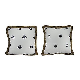 2 Piece Embroidered Boats & Anchors White Throw Pillow Set w/Jute Rope Trim