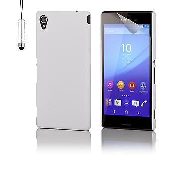 Hard shell case + stylus for Sony Xperia M4 Aqua - White