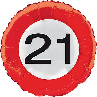 Foil balloon traffic sign number 21 birthday helium balloon party