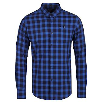 Weekend Offender Demille Navy & Savoy Blue Check Long Sleeve Shirt