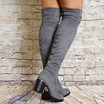Shoe Closet Grey Over The Knee Boots - Ladies Iffa10 Grey Over The Knee High Stretch High Heels Boots