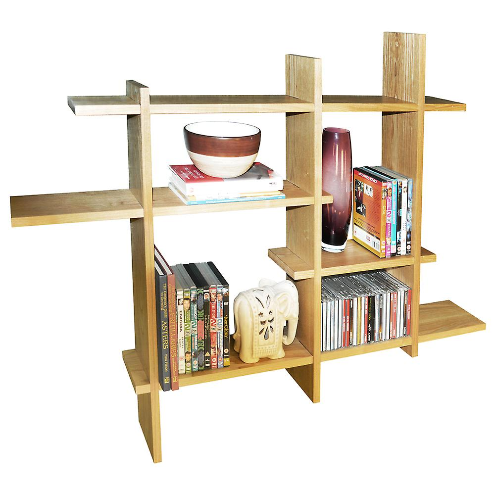 Lattice - Wood Floating Geometric Retro Wall Display Storage Shelf - Natural