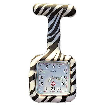Boolavard® TM Nurses Fashion Coloured Patterned Silicon Rubber Fob Watches - Square Zebra