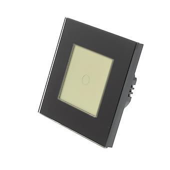 I LumoS Black Glass Frame 1 Gang 1 Way WIFI/4G Remote Touch LED Light Switch Gold Insert